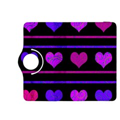 Purple And Magenta Harts Pattern Kindle Fire Hdx 8 9  Flip 360 Case by Valentinaart