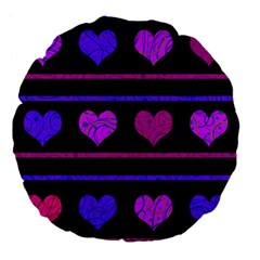 Purple And Magenta Harts Pattern Large 18  Premium Flano Round Cushions by Valentinaart