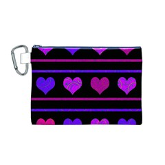 Purple And Magenta Harts Pattern Canvas Cosmetic Bag (m) by Valentinaart