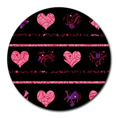 Pink Elegant Harts Pattern Round Mousepads by Valentinaart