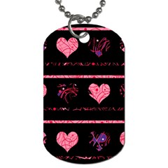 Pink Elegant Harts Pattern Dog Tag (two Sides) by Valentinaart
