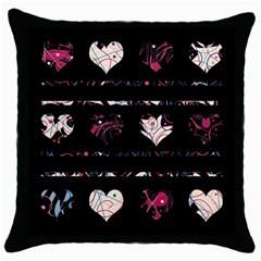 Elegant Harts Pattern Throw Pillow Case (black) by Valentinaart