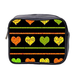 Colorful Harts Pattern Mini Toiletries Bag 2 Side by Valentinaart