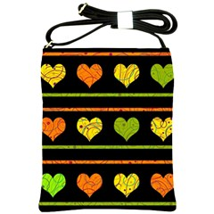 Colorful Harts Pattern Shoulder Sling Bags by Valentinaart