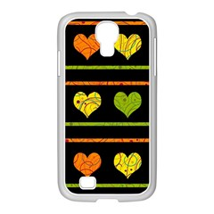 Colorful Harts Pattern Samsung Galaxy S4 I9500/ I9505 Case (white) by Valentinaart