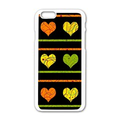 Colorful Harts Pattern Apple Iphone 6/6s White Enamel Case by Valentinaart
