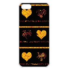 Yellow Harts Pattern Apple Iphone 5 Seamless Case (white) by Valentinaart