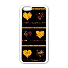 Yellow Harts Pattern Apple Iphone 6/6s White Enamel Case by Valentinaart
