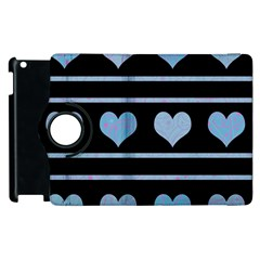 Blue Harts Pattern Apple Ipad 3/4 Flip 360 Case by Valentinaart