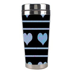 Blue Harts Pattern Stainless Steel Travel Tumblers by Valentinaart