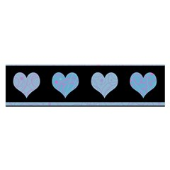 Blue Harts Pattern Satin Scarf (oblong) by Valentinaart