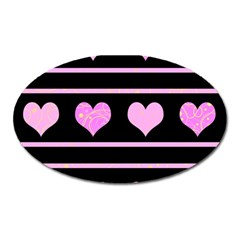 Pink Harts Pattern Oval Magnet by Valentinaart