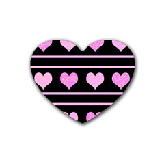 Pink Harts Pattern Heart Coaster (4 Pack)  by Valentinaart