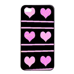 Pink Harts Pattern Apple Iphone 4/4s Seamless Case (black) by Valentinaart