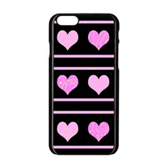 Pink Harts Pattern Apple Iphone 6/6s Black Enamel Case by Valentinaart
