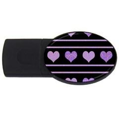 Purple Harts Pattern Usb Flash Drive Oval (2 Gb)  by Valentinaart