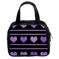 Purple Harts Pattern Classic Handbags (2 Sides) by Valentinaart