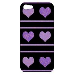 Purple Harts Pattern Apple Iphone 5 Hardshell Case by Valentinaart