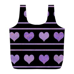 Purple Harts Pattern Full Print Recycle Bags (l)  by Valentinaart