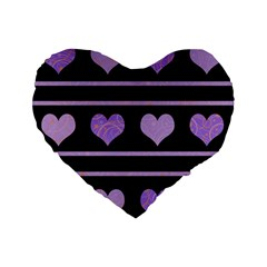 Purple Harts Pattern Standard 16  Premium Flano Heart Shape Cushions by Valentinaart