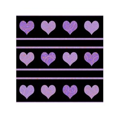 Purple Harts Pattern Small Satin Scarf (square) by Valentinaart