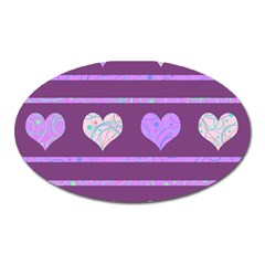 Purple Harts Pattern 2 Oval Magnet by Valentinaart