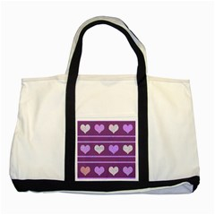Purple Harts Pattern 2 Two Tone Tote Bag by Valentinaart