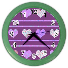 Purple Harts Pattern 2 Color Wall Clocks by Valentinaart