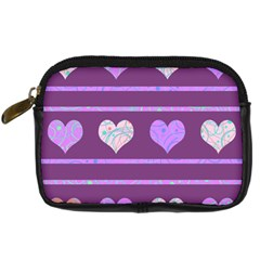 Purple Harts Pattern 2 Digital Camera Cases by Valentinaart
