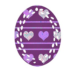 Purple Harts Pattern 2 Ornament (oval Filigree)  by Valentinaart