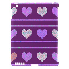 Purple Harts Pattern 2 Apple Ipad 3/4 Hardshell Case (compatible With Smart Cover) by Valentinaart