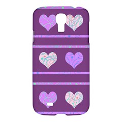 Purple Harts Pattern 2 Samsung Galaxy S4 I9500/i9505 Hardshell Case by Valentinaart