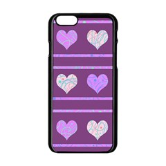 Purple Harts Pattern 2 Apple Iphone 6/6s Black Enamel Case by Valentinaart