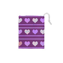 Purple Harts Pattern 2 Drawstring Pouches (xs)  by Valentinaart