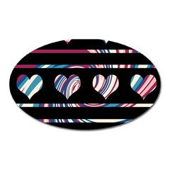 Colorful Harts Pattern Oval Magnet by Valentinaart