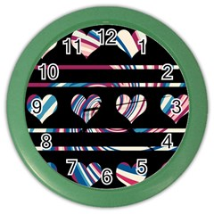 Colorful Harts Pattern Color Wall Clocks by Valentinaart
