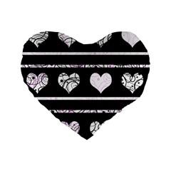 Elegant Harts Pattern Standard 16  Premium Flano Heart Shape Cushions by Valentinaart