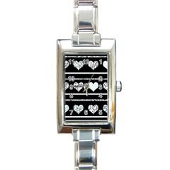 Elegant Harts Pattern Rectangle Italian Charm Watch by Valentinaart