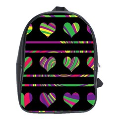 Colorful Harts Pattern School Bags (xl)  by Valentinaart