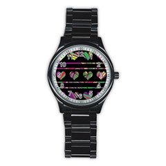 Colorful Harts Pattern Stainless Steel Round Watch by Valentinaart