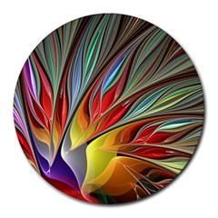 Fractal Bird Of Paradise Round Mousepad by WolfepawFractals