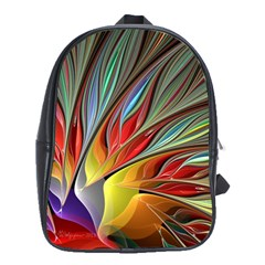 Fractal Bird Of Paradise School Bag (large) by WolfepawFractals