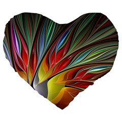 Fractal Bird Of Paradise Large 19  Premium Flano Heart Shape Cushion by WolfepawFractals