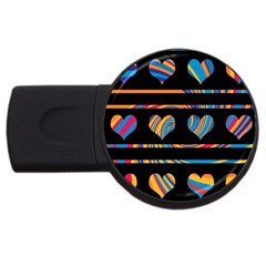 Colorful Harts Pattern Usb Flash Drive Round (4 Gb)  by Valentinaart