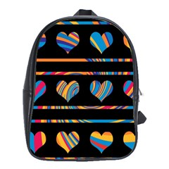 Colorful Harts Pattern School Bags(large)  by Valentinaart