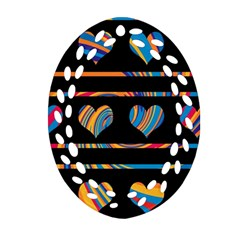 Colorful harts pattern Oval Filigree Ornament (2-Side)  by Valentinaart