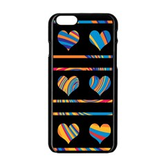 Colorful Harts Pattern Apple Iphone 6/6s Black Enamel Case by Valentinaart