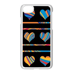 Colorful harts pattern Apple iPhone 7 Seamless Case (White) by Valentinaart