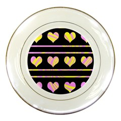 Pink And Yellow Harts Pattern Porcelain Plates by Valentinaart