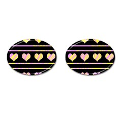 Pink And Yellow Harts Pattern Cufflinks (oval) by Valentinaart